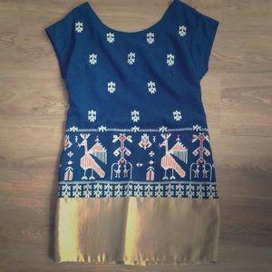 Dark teal/ gold embroidered dress- Anthropologie